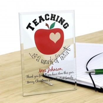 Personalised Glass Teachers Plaque Christmas Gift