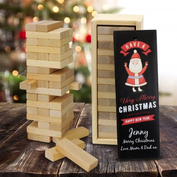 Jenga Wood Block Game with Personalised Timber Printed Box Christmas Gift
