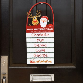 Personalised Santa Stop Here Sign Door Hanging Decoration Acylic