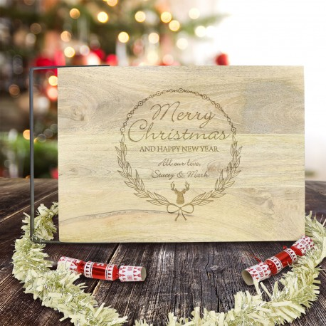 Large Chopping Board with Iron Handle Engraved Christmas Personalised Gift