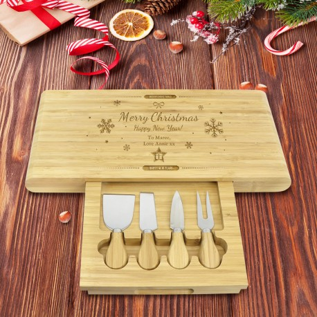 Christmas 5 Piece Engraved Rectangle Cheese Board with Utensils Engraved Gift