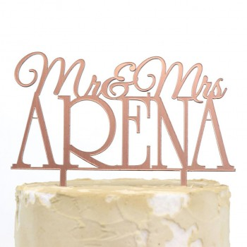Wedding Mr Mrs Surname Rose Gold Acrylic Cake Topper