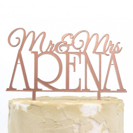 Wedding Mr & Mrs Surname Rose Gold Acrylic Cake Topper