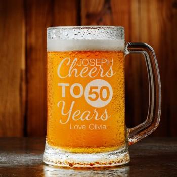 Cheers Premium Birthday Engraved Beer Mug - All Ages