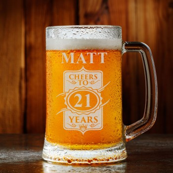 Crest Premium Personalised Birthday Beer Mug - 18th 21st 30th