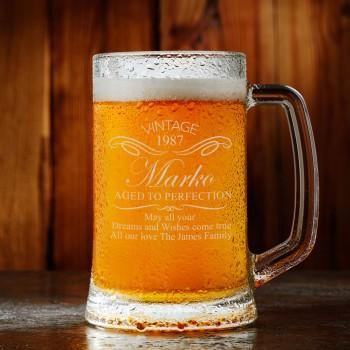 Vintage Custom Engraved Birthday Beer Mug - 18th 21st 30th