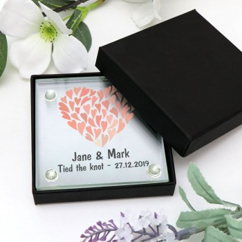Printed Glass Coasters Personalised Wedding Favours
