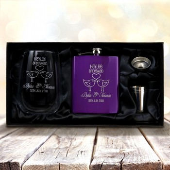 Ultimate Bridesmaid Purple Flask + Stemless Wine Glass Pack