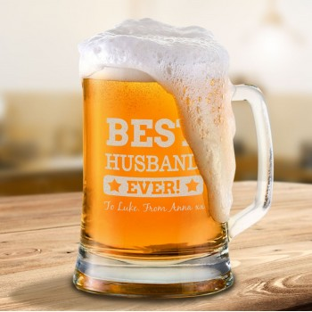 Personalised Valentines Day Beer Mug Engraved with Gift Box Option