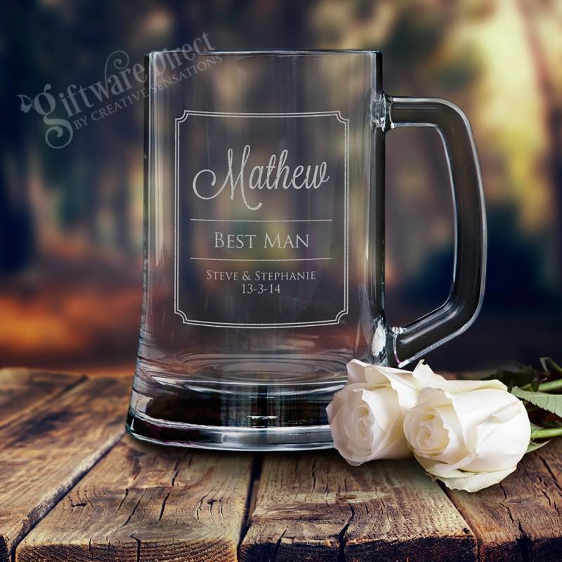 Fresh Personalised engraved beer mug wedding glass stein for groomsman  XX03