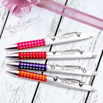 personalised engraved wedding pen sparkle plastic pen favour