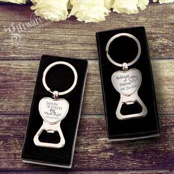 Engraved Chrome Heart Bottle Opener in Gift Box