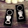 personalised engraved gift boxed heart bottle opener keyring wedding favour