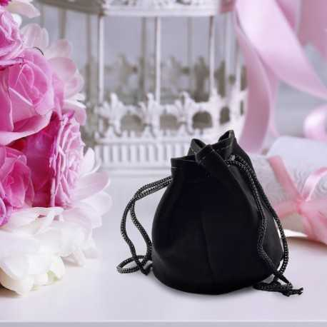 black velour drawstrong pouch for wedding favour packaging