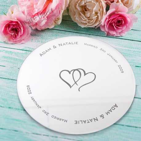 Engraved Mirror Centrepiece weddign decoration personalised