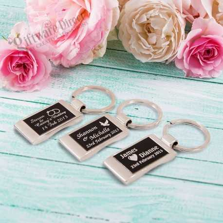 Personalsied engraved chrome keyring in gift box cheap wedding favour