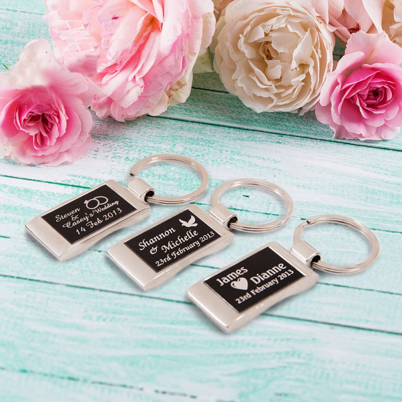 Personalised engraved chrome keyring wedding favour gift box cheap