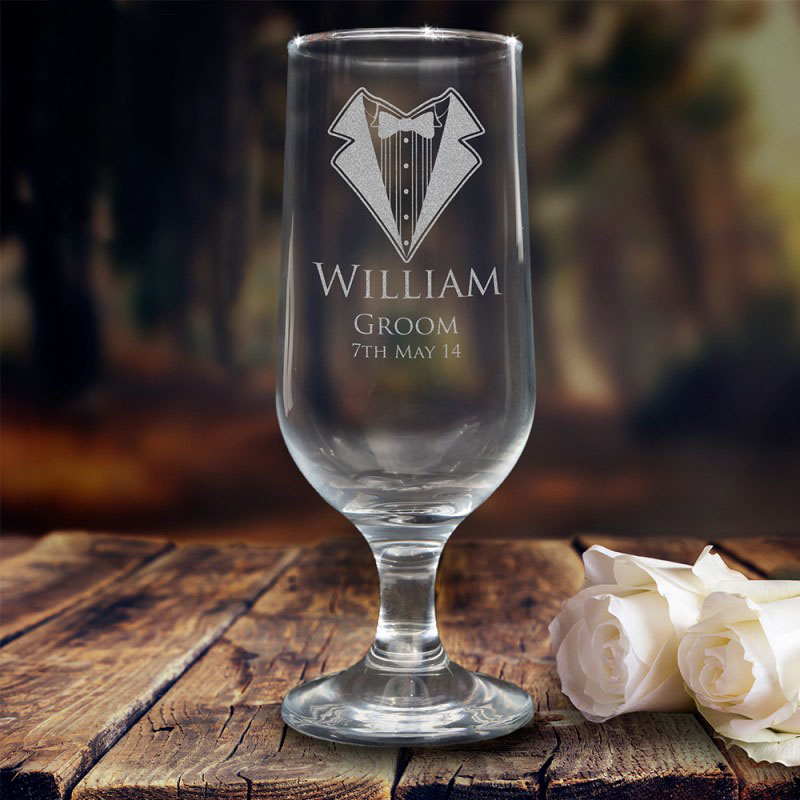 Personalised Engraved 345ml Footed Beer Goblet Wedding Glass
