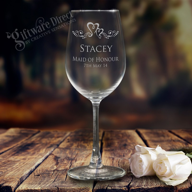 Personalised Engraved 350ml Wedding Wine Glass For The Bridal Party