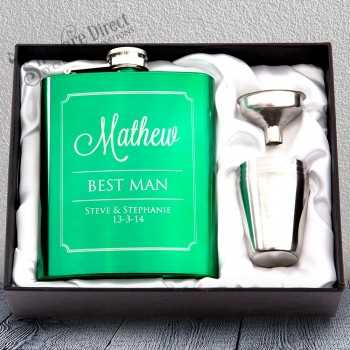 personalised engraved green hip flask gift - groomsman gift