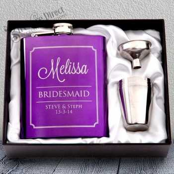 7oz Purple Hip Flask Gift Set Engraved Stainless