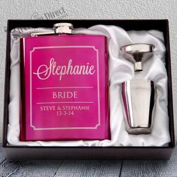 7oz Pink Hip Flask Gift Set Engraved Stainless