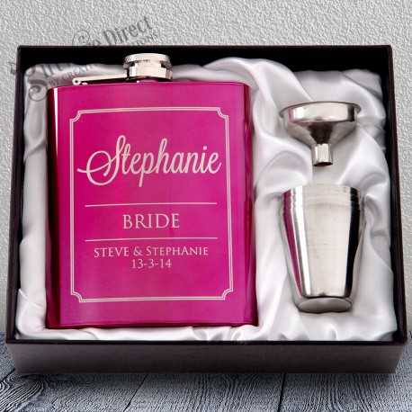 personalised engraved pink hip flask gift - bridesmaid present