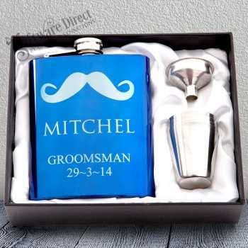 7oz Blue Hip Flask Gift Set Engraved Stainless