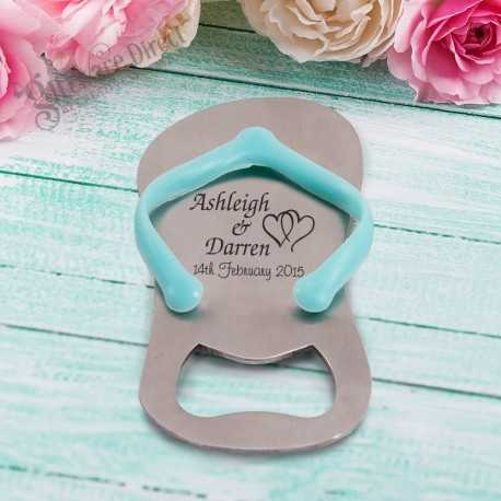 Personalised engraved Flip Flop Thong Bottle Opener in Gift Box (Blue/Pink) Sandal Jandal