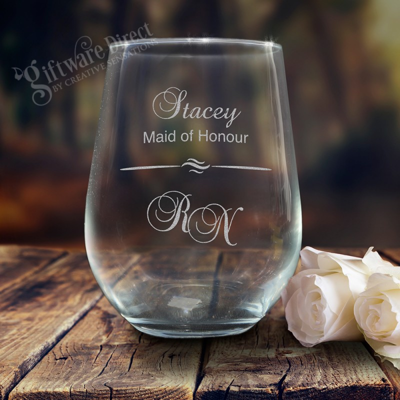 Engraved Wedding Stemless Wine Glass Tumbler 500ml Bridesmaid Gift