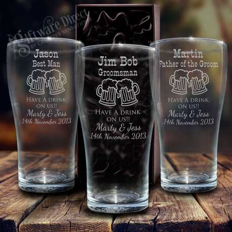 engraved conical schooner beer glass for groomsman and best man wedding gift etched