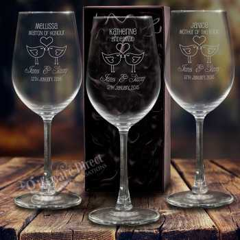 engraved 350ml wedding wine glass personalised favour