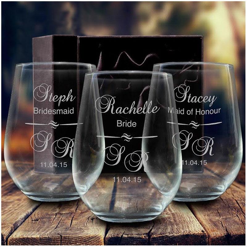 Engraved Wedding Stemless Wine Glass Tumbler 500ml Bridesmaid Gift