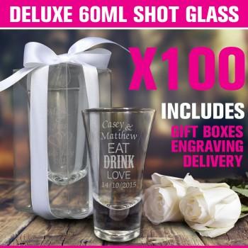 engraved deluxe 60ml wedding shot glasses cheap favours australia x 100