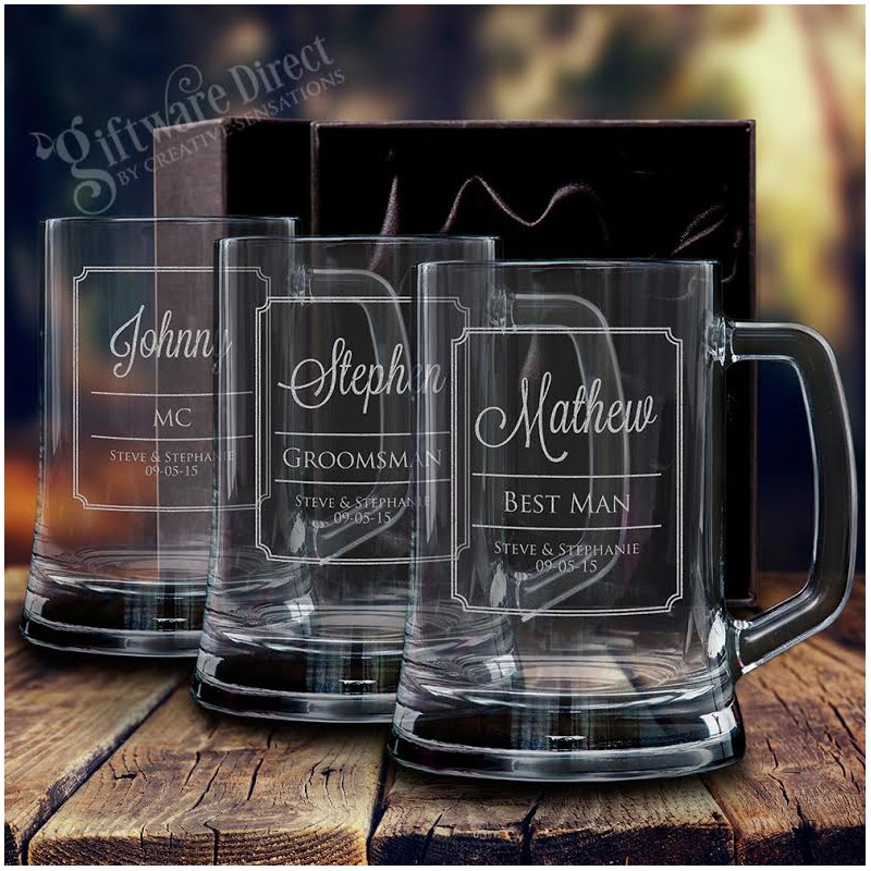 Personalised Engraved Beer Mug Wedding Glass Stein For Groomsman