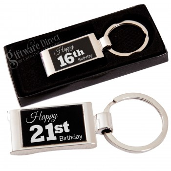Birthday Solid Boxed Keyring Laser Engraved