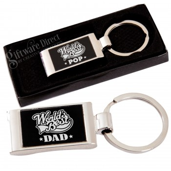 Fathers Day Chrome Keyring Worlds Best Dad/Pa/Grandad